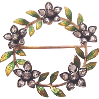 French 18Kt. Gold, Silver, Enamel and Rose Cut Diamond Pin / Pendent - Circa 1900