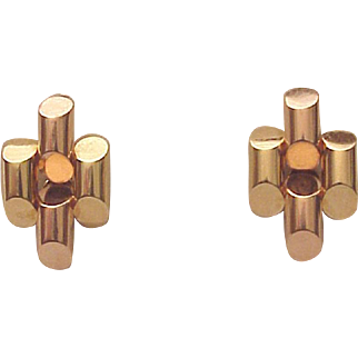 Tiffany & Co. 14Kt. Two Color Gold Screw Back Earrings - Circa 1945