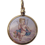 18Kt. Gold and Hand Painted Enamel Cherub Locket / Hair Memorial - Circa 1850