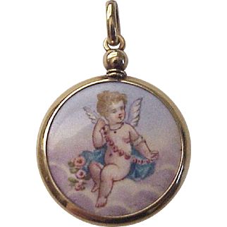 18Kt. Gold and Hand Painted Enamel Cherub Locket / Hair Memorial - Circa 1850