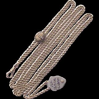 Ladies Victorian 12Kt. Gold Watch Chain with Slide - Circa 1890