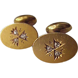 Victorian 14kt. Gold with Diamond Accent Cuff Links Cufflinks - Circa 1900