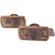 14Kt. Rose Gold and Dendritic Agate Cufflinks Cuff Links - Circa 1880