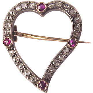 French 18kt. Rose Gold, Silver, Rose Cut Diamond and Ruby Heart pin - Circa 1875