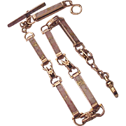 14Kt. Rose Gold and Two Color Gold Quartz Man's Watch Chain - Circa 1875