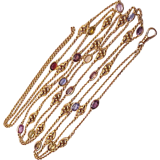 Art Nouveau 14Kt. Yellow Gold Lorgnette Chain with Semi Precious Gem Stones - Circa 1910