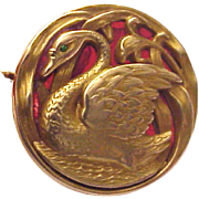 Art Nouveau 14kt. Gold Swan Watch Pin with Plique a Jour Background - Circa 1900