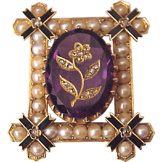 Victorian 14kt. Gold, Amethyst, Rose Cut Diamonds, Enamel and Half Pearl Pin - Circa 1870