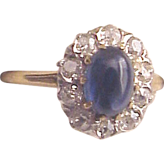 14Kt. Gold, Cabochon Blue Sapphire and Diamond Ring - Circa 1915