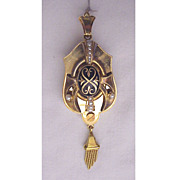 Swiss 18kt. Gold, Enamel & Cultured Pearl Etruscan Revival Pin / Pendent with Photo Window Dated 1877