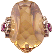 Estate 18Kt. Gold, Fantasy Cut Citrine Ring with Diamond and Ruby Accent