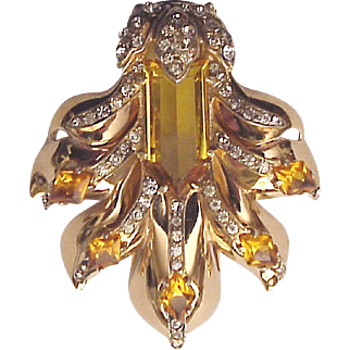 Eisenberg Gold Plated Sterling Brooch with Rhinestones and Faux Citrine Gems - Circa 1945