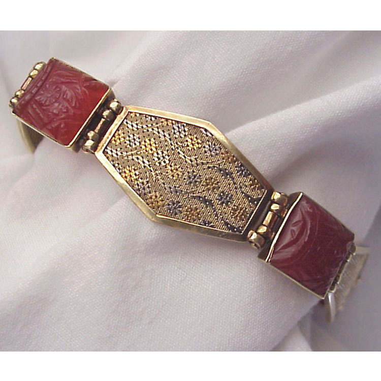 14 Kt. Extreme Art Deco  Multi Colored Gold & Carved Carnelian Bracelet - Circa 1930 - Marked DRGM