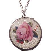 Sterling and Guilloche Enamel Locket with Chain - Circa 1925
