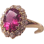 14Kt. and Rose Tourmaline with Diamond Accent Ring - Circa 1910