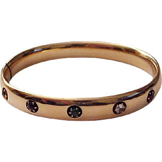 Masonic Eastern Star 14kt. Bracelet with Five Multicolored Gemstones - Dated 1912