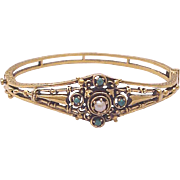 Vintage 14kt. Gold Victorian Style Bracelet with Gem Accents - Circa 1950