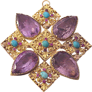 18kt. Yellow Gold, Quartz and Gemstone Accented Pin / Pendent - Circa 1800
