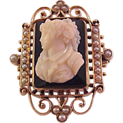 14Kt. Rose Gold and Onyx Cameo Pin / Pendent w/ Memorial Window - Circa 1900