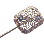 14 Kt. White Gold Filigree Stick Pin with Sapphire and Diamond Gemstones - Circa 1920