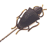 14 Kt. Yellow Gold Black Beetle Stick Pin - Circa 1850