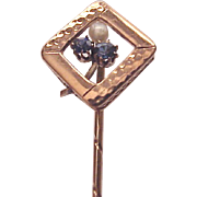 14 Kt. Rose Gold Stick Pin with Pearl and Sapphire Accent - Circa 1890