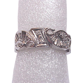 14Kt. White Gold Open Work Eternity Band with Diamond Accent - Circa 1950