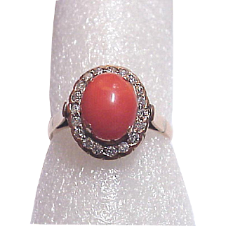 14Kt. Gold, Coral Cabochon and Diamond Accent Ring