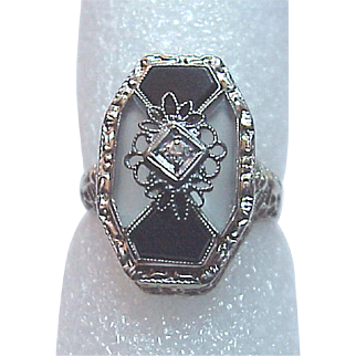 14Kt. Gold, Onyx and Rock Crystal Ring with Diamond Accent - Circa 1925