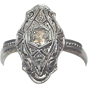 14Kt., Platinum and Diamond Filigree Ring - Circa 1920