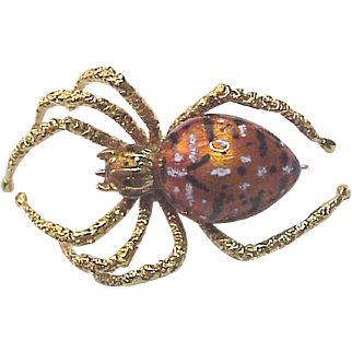 European 18Kt. Gold and Enamel Spider Pin - Circa 1975