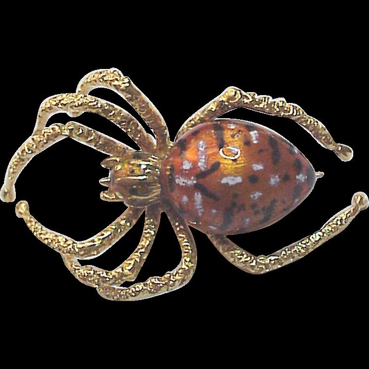 European 18Kt. Gold and Enamel Spider Pin - Circa 1975