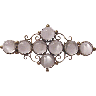Victorian 14kt. Yellow Gold and Cabochon Moonstone Pin - Circa 1880