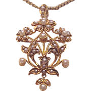 European 15Kt. Gold and Pearl Pin Pendent Combination - Circa 1900