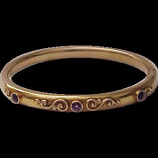 14Kt. Gold and Amethyst Art Nouveau Bracelet - Circa 1910