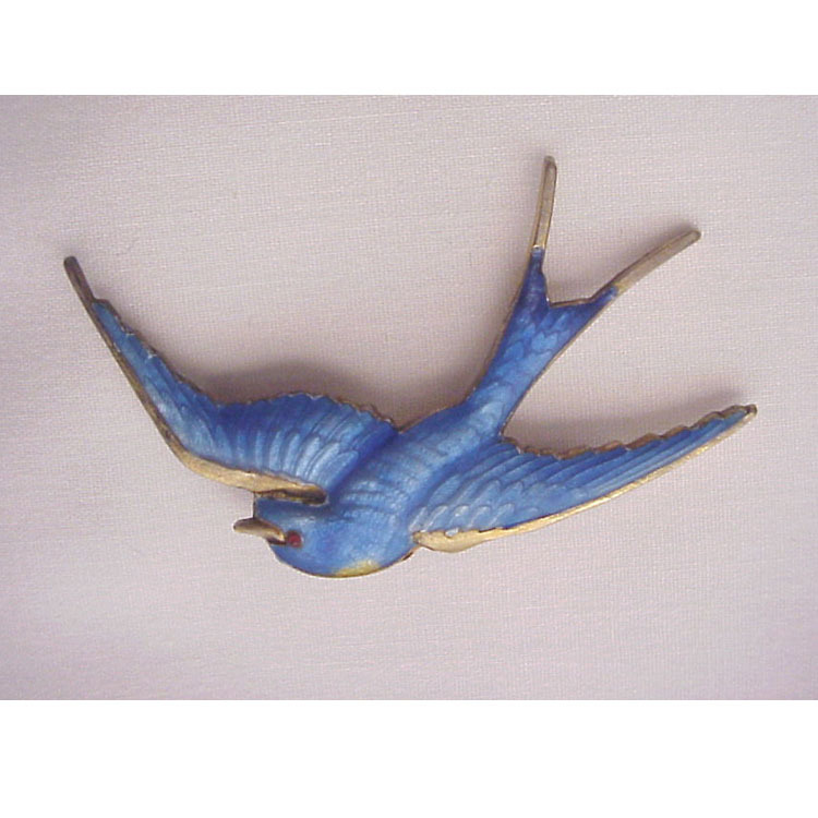 P & B Vermeil Sterling & Guilloche Enamel Blue Bird Pin - Circa 1920