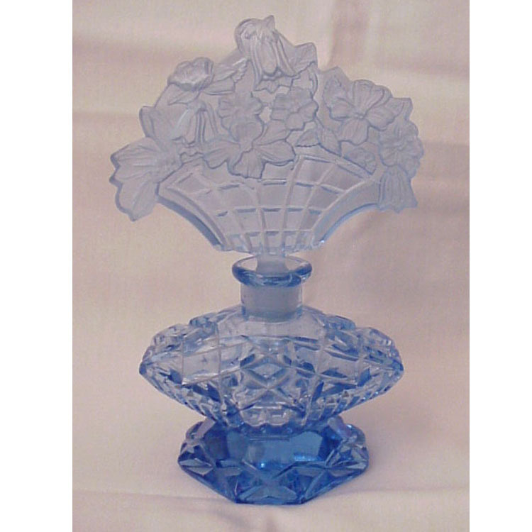 Blue Figural Stopper Czech Perfume Bottle - Circa 1930