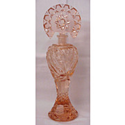 Tall Faceted Peach Colored Czech Perfume - Circa 1930