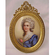 European Hand-Painted Porcelain Plaque in a Dore Bronze Frame - Circa 1900
