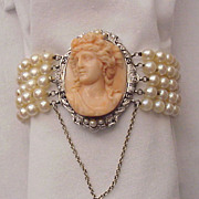 Magnificent Platinum, 14 kt. Gold, Coral Cameo, Diamond and Cultured Pearl Bracelet