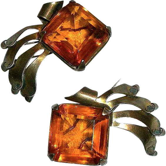 Art Deco Pair of Amber Glass Rhinestone & Sterling Vermeil Fur / Dress Clips