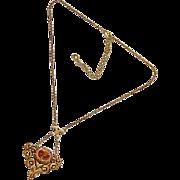 Vintage Hobe Rhinestone and Enamel Fleur De Lis Pendant