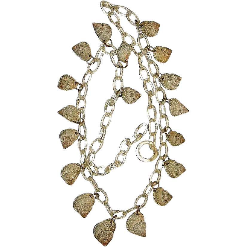 Vintage Celluloid Chain with Sea Shells Necklace
