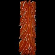 Vintage Deeply Carved Dark Butterscotch Bakelite Brooch