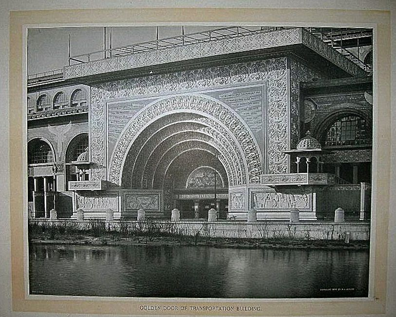 1893 World's Columbian Exposition Golden Door of Transportation Building by W.H. Jackson