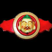 Vintage Artisan Joli Celluloid Buddha Face & Bakelite Brooch