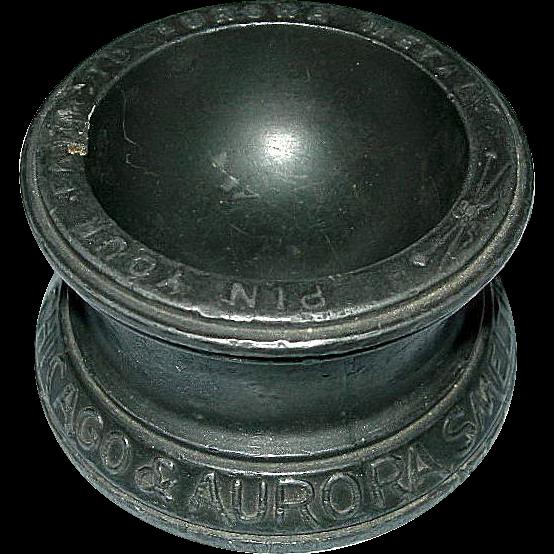 1893 Columbian Exhibition Souvenir Cast Iron Chicago & Aurora Smelting & Refining Co. Pin Tray
