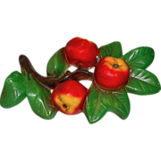Retro Chalkware Apples Wall Plaque