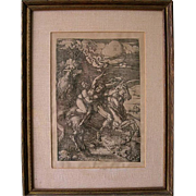 Antique Albrecht Dürer Abduction of Proserpine on a Unicorn Engraving