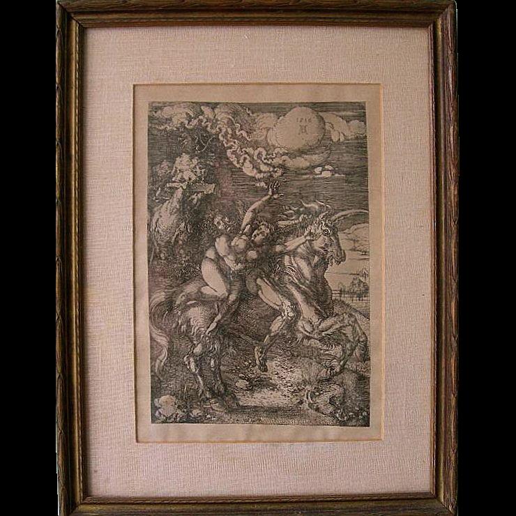 Antique Albrecht Dürer Abduction of Proserpine on a Unicorn Engraving